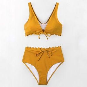Cupshe Scalloped Mustard Yellow Bikini - NWT